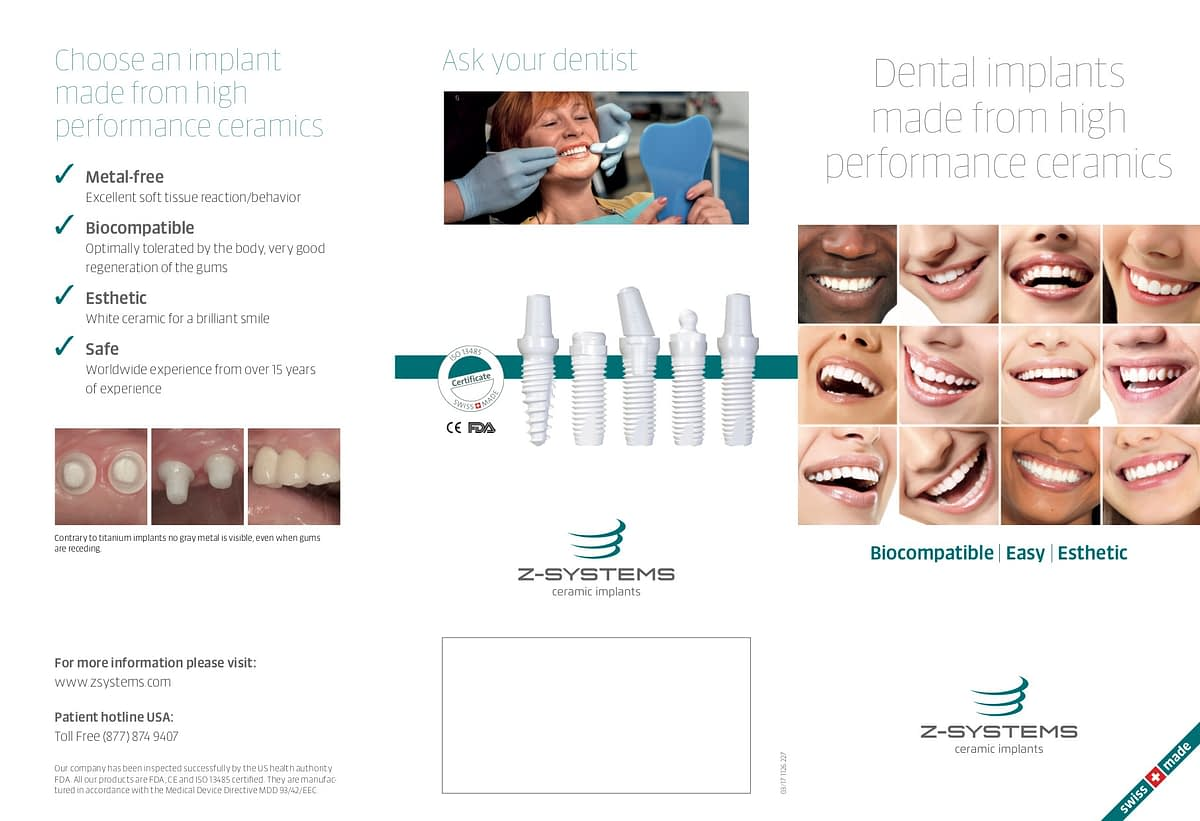 Patient flyer explaining benefits of zirkolith ceramic implants.